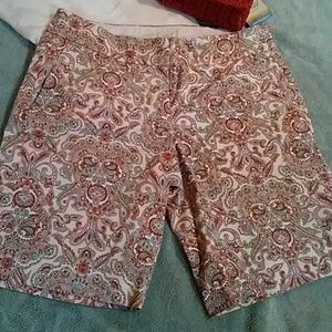 J. Crew cream/green/pink paisley shorts. Size 4
